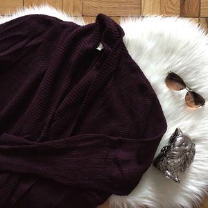 LOFT Maroon Open Sweater Cardigan